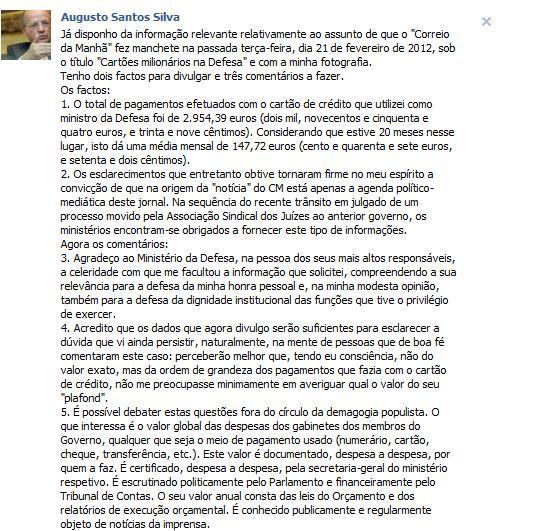 Imagem do perfil do Facebook de Augusto Santos Silva