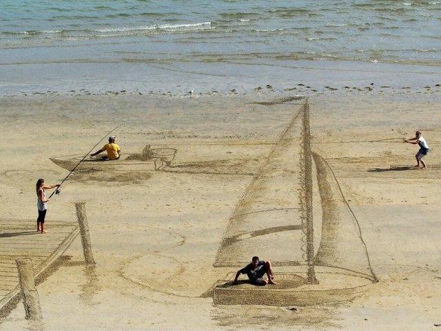 desenho na areia