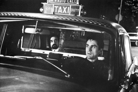 FILM TITLE: Taxi Driver. STUDIO: Columbia Pictures. PLOT: Disrguntled war vet and cabbie Travis Bickle is a lonely man obsessed with pornography and violence. He longs to connect with a blonde goddess office worker, and to rescue/liberate a 12-year old prostitute named Iris from her predatory pimp. Both resist his efforts, and soon his frustration and alienation gives way to violence. PICTURED: MARTIN SCORSESE, ROBERT DE NIRO. (Credit Image: © Entertainment Pictures/Entertainment Pictures/ZUMAPRESS.com)